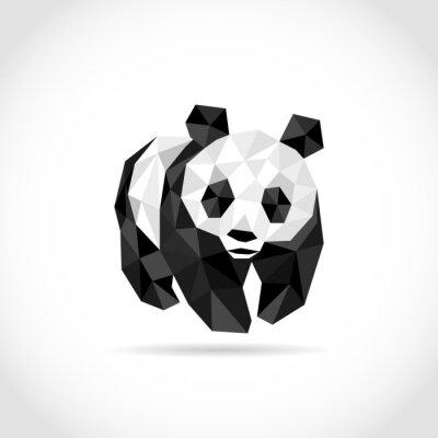 Poster Panda no estilo do polígono. Baixo design em triângulos