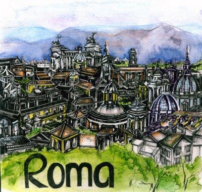 Poster Panorâmico, vista, Roma, aquarela, europeu, união