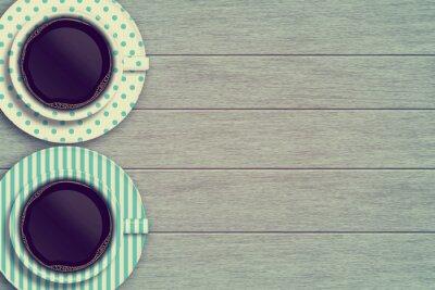 Poster Par, café, canecas, madeira, tabela