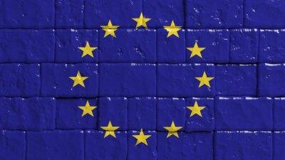 Poster Parede de tijolo com bandeira pintada da União Europeia