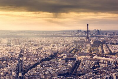 Poster Paris, França skyline ao pôr do sol. Torre, romanticos, dourado, luz