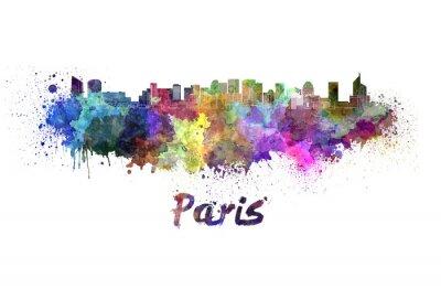 Poster Paris V2 skyline na aguarela