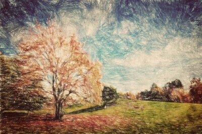 Poster Parque do outono. Monte verde em folhas vermelhas. Arte do vintage