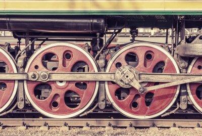 Poster Parte mecânica e rodas da locomotiva a vapor.