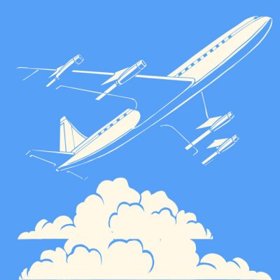Poster Passageiro avião nas nuvens fundo retro