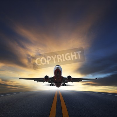 Poster passenger plane take off from runways against beautiful dusky sky with copy space use for air transport ,journey and traveling industry business