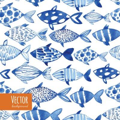 Poster Peixes azuis do azul da aguarela no fundo preto.