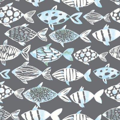 Poster Peixes brancos da aguarela clara no fundo cinzento.