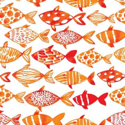 Poster Peixes claros do gold da aguarela. Seamlessly teste padrão dos peixes da telha. Ve