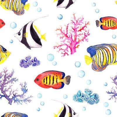 Poster Peixes exóticos, corais do mar e baubles da água. Padrão de repetição. Aguarela