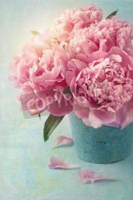 Poster Peônia flores em um vaso