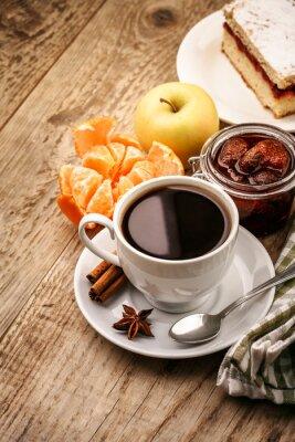 Poster Pequeno almoço, café, frutas