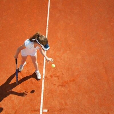 Poster Pequeno, tênis, campeão, preparar, servir