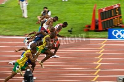 Poster Pequim, China - 16 de agosto de 2008 :, Olympics, Usain Bolt rompe na corrida de 100 metros para homens