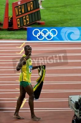 Poster Pequim, China - 16 de agosto: Velocista Usain Bolt estabelece novo recorde mundial 100 metros para homens