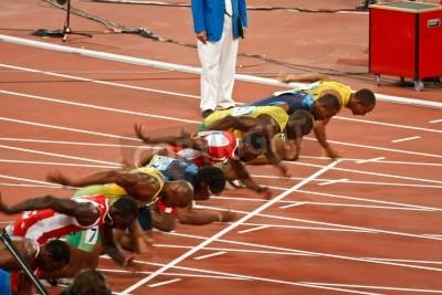 Poster Pequim, China, Jogos Olímpicos - 18 de agosto de 2008: Sprint 100 metros de linha de partida, Início de Homens