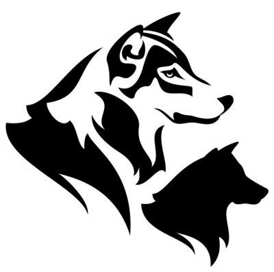 Perfil Lobo Cabeca Pretas E Branca Vetorial Desenho