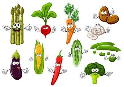 Poster Personagens de desenhos animados felizes dos vegetais da exploração agrícola