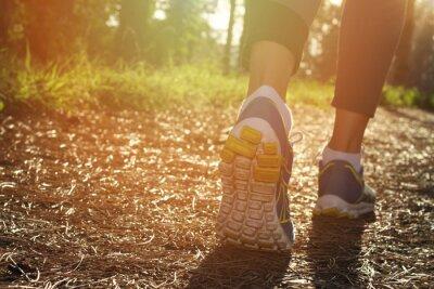 Poster Pés corredor atleta que funcionam na natureza, close up no sapato. Mulher de fitness jogging, estilo de vida ativo conceito