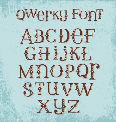 Poster Pia batismal desenhada mão subtil do vintage com letras misturadas das letras maiúsculas e minúsculas