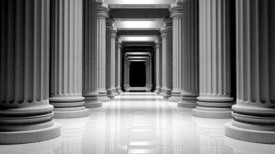 Poster Pilares de mármore branco em uma linha dentro de um edifício