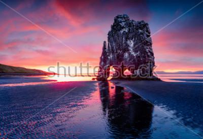 Poster Pilha enorme Hvitserkur do basalto na costa oriental da península de Vatnsnes. Nascer do sol colorido do verão em Islândia noroeste, Europa. Beleza do fundo do conceito de natureza.