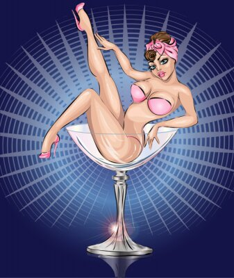 Poster Pin Up menina sexy vestindo biquíni cor de rosa no copo de Martini