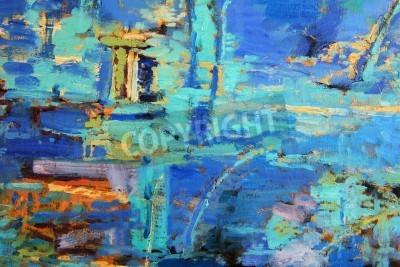 Poster Pintura a óleo abstrata com azuis predominantes
