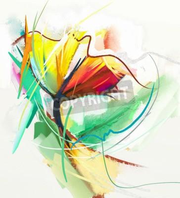 Poster Pintura a óleo abstrata de flores da primavera. Ainda vida de cor amarela e vermelha. Resumo impressionista moderno. Pintura de arte de flores. Flor decorativa