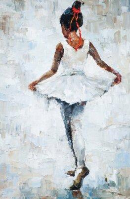 Poster Pintura a óleo, menina bailarina. Desenhado, bonito, ballerina, dançar