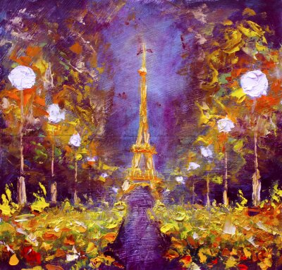 Poster Pintura a óleo - Torre Eiffel na noite France por Rybakow