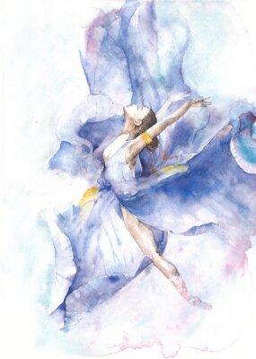 Poster Pintura da aguarela da dança da bailarina isolada no cartão