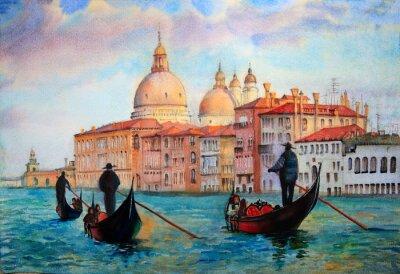 Poster Pintura de Veneza, pintado pela aguarela