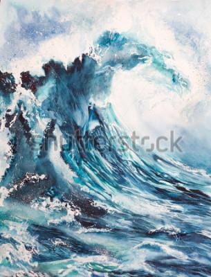 Poster pintura em aquarela de onda do mar