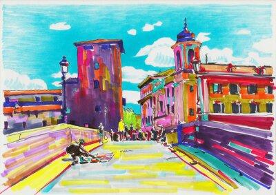 Poster pintura original do marcador de Roma Itália paisagem urbana