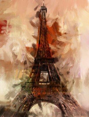 Poster Pintura Paris Torre Eiffel Torre Eiffel Imagem Pintura a óleo de arte