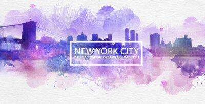 Poster Pintura roxa do cartão dos sonhos de New York City