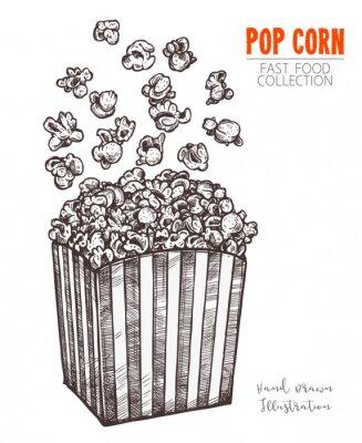 Poster Pipoca de esboço desenhado de mão, lanche de comida de cinema em estilo gravado. Ilustração em vetor de caixa cheia com milho a voar. Símbolo de fastfood, cinema, entretenimento. Vector isolado no fun