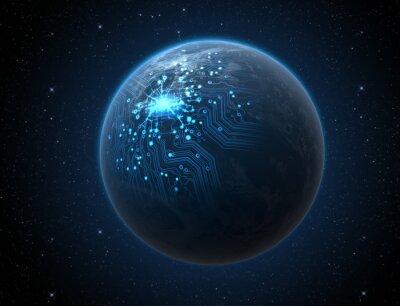 Poster Planeta com rede iluminada