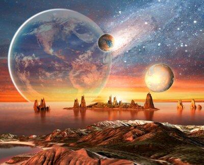 Poster Planeta estrangeiro com lua Terra E Montanhas