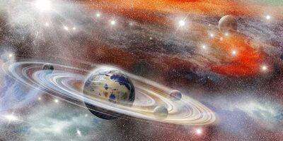 Poster Planeta no espaço com sistema de anel de numerosos