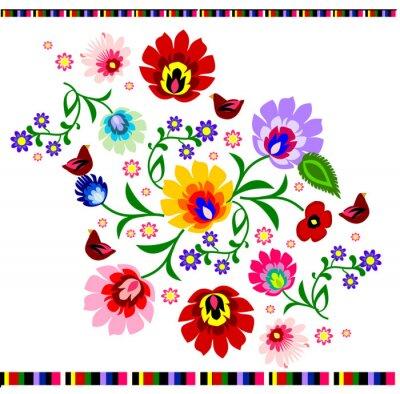 Poster Polonês tradicional teste padrão popular floral vetor