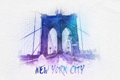 Poster Ponte de Brooklyn com texto de New York City