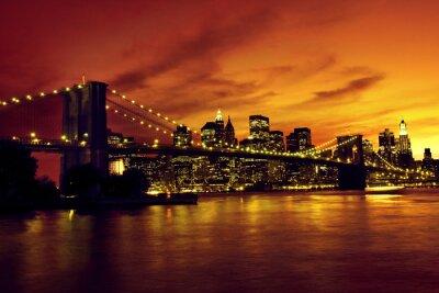 Poster Ponte de Brooklyn e Manhattan ao pôr do sol, New York