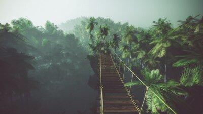 Poster Ponte de corda na selva enevoado com palmas. Retroiluminado.