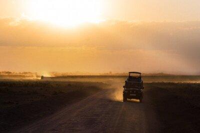 Poster Pôr do sol, africano, savana, silhuetas, safari, car, animais, áfrica, kenya, amboseli, nacional, parque