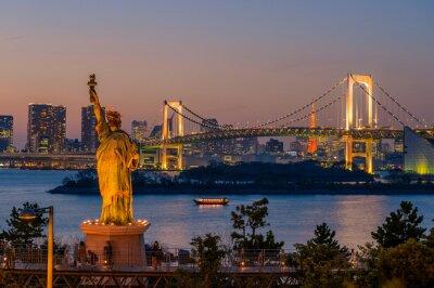Poster Pôr do sol e ponte do arco-íris em Odaiba, Tóquio