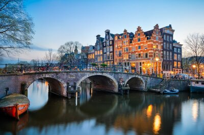Poster Pôr do sol em Amsterdã, Holanda