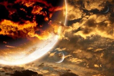 Poster Pôr do sol, tempestade, céu, estrangeiro, planeta