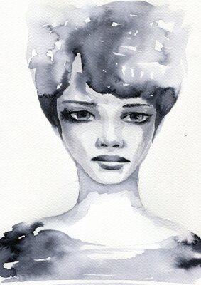 Poster Portret akwarelowy kobiety